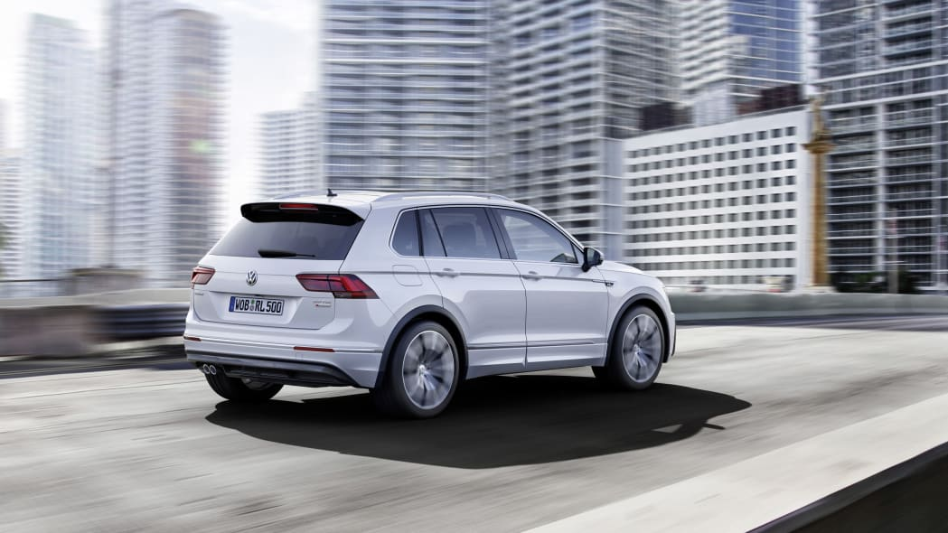 silver vw tiguan r-line rear on the road