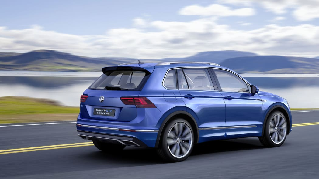 blue vw tiguan gte rear on the road