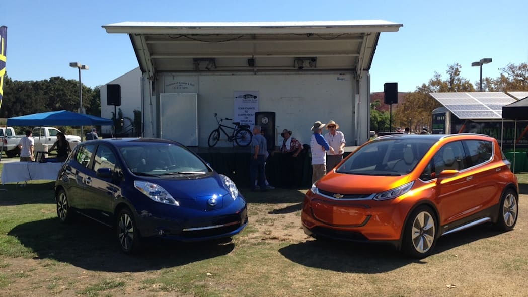 Chevy Bolt and 2016 Nissan Leaf at National Drive Electric Week 2015