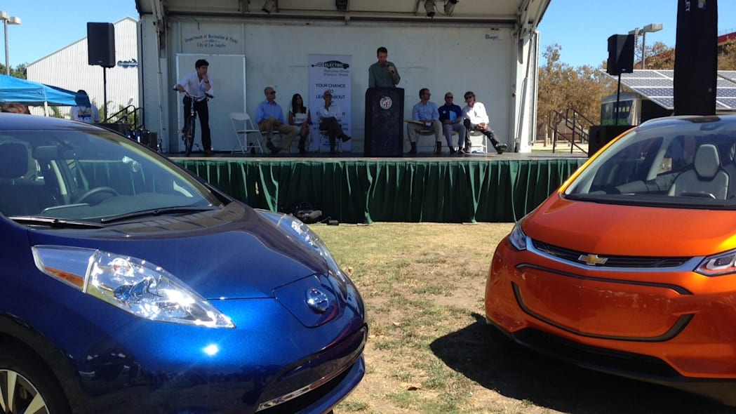 Chevy Bolt and 2016 Nissan Leaf at National Drive Electric Week 2015 close up
