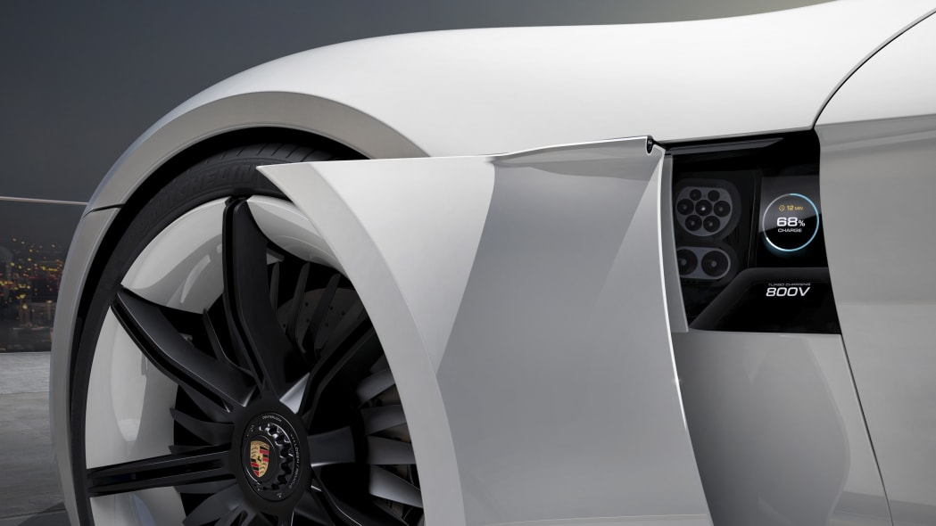 while porsche mission e charger
