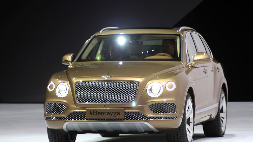 The Bentley Bentayga at VW Group Night, front three-quarter view.