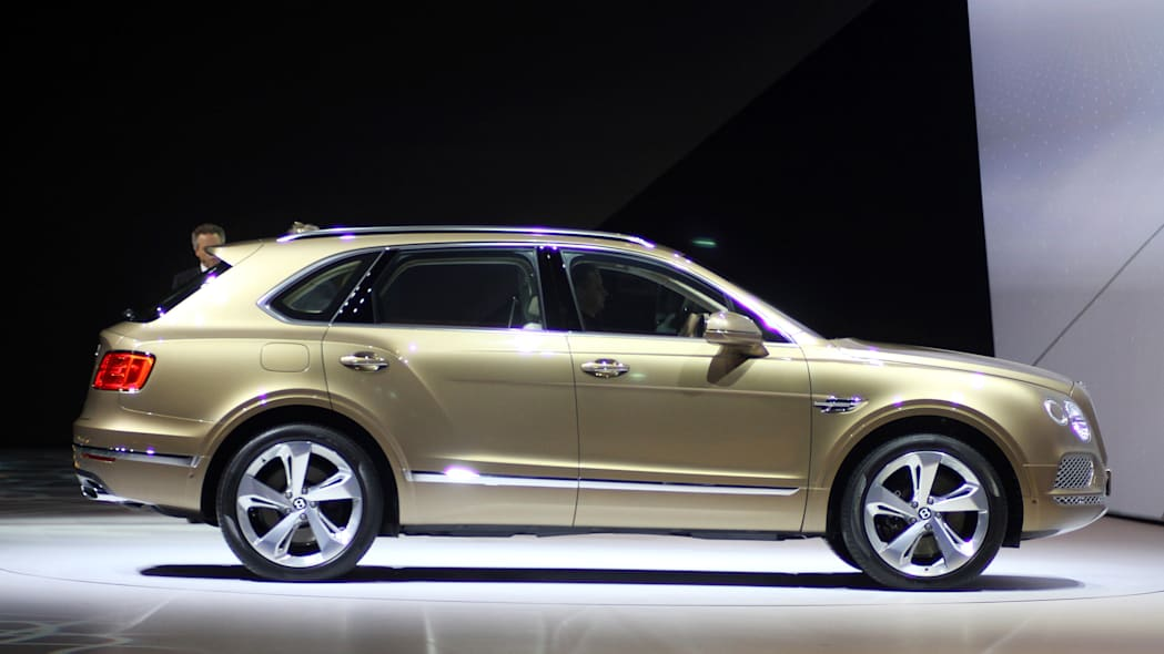 The Bentley Bentayga at VW Group Night, side view.