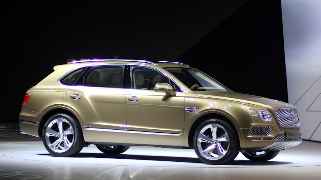 The Bentley Bentayga introduced at VW Group Night, front three-quarter view.