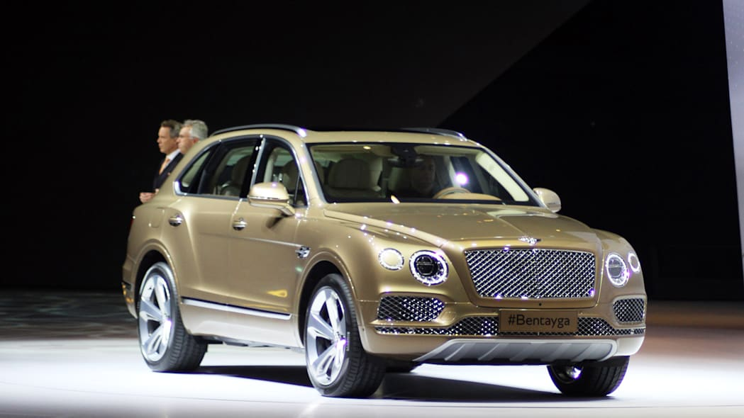 The Bentley Bentayga crossover introduced at VW Group Night, front three-quarter.