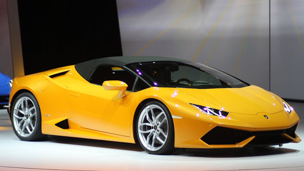 The 2016 Lamborghini Huracan Spyder is unveiled to the press at Volkswagen Group Night ahead of the 2015 Frankfurt Motor Show, front three-quarter view with the top up.