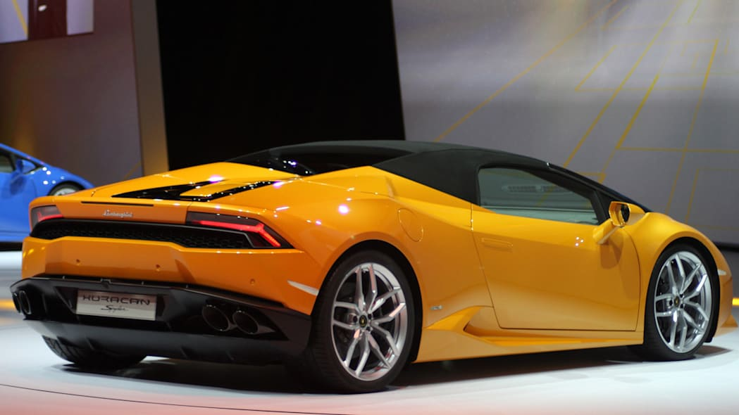 The 2016 Lamborghini Huracan Spyder is unveiled to the press at Volkswagen Group Night ahead of the 2015 Frankfurt Motor Show, rear three-quarter view, top up.