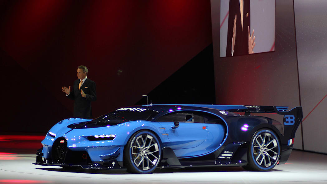 The Bugatti Vision Gran Turimso, designed for the Sony Playstation game Gran Turismo, is shown off at Volkswagen Group Night ahead of the 2015 Frankfurt Motor Show, front three-quarter view.