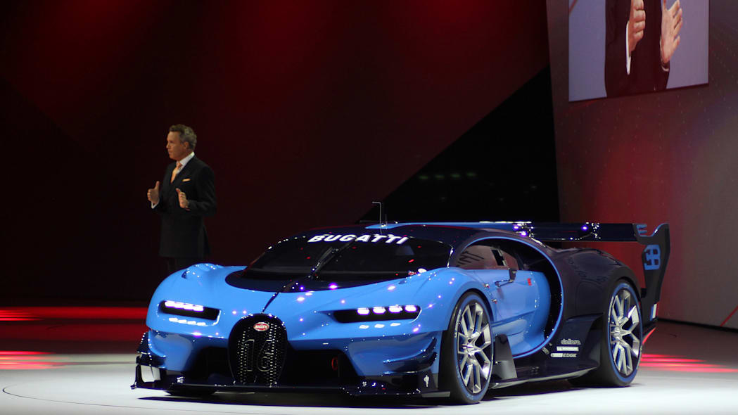 The Bugatti Vision Gran Turimso, designed for the Sony Playstation game Gran Turismo, is shown off at Volkswagen Group Night ahead of the 2015 Frankfurt Motor Show, near front three-quarter view.