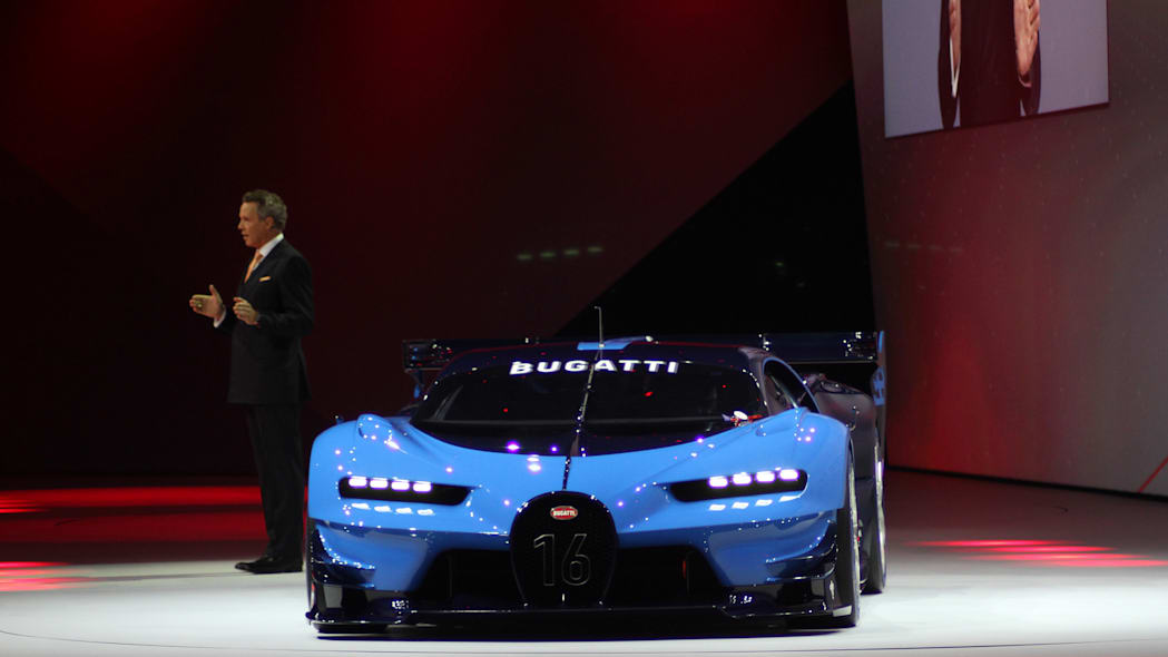 The Bugatti Vision Gran Turimso, designed for the Sony Playstation game Gran Turismo, is shown off at Volkswagen Group Night ahead of the 2015 Frankfurt Motor Show, front view.