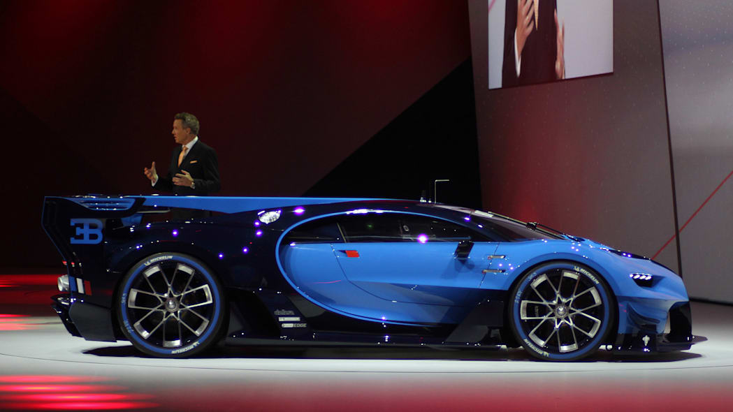 The Bugatti Vision Gran Turimso, designed for the Sony Playstation game Gran Turismo, is shown off at Volkswagen Group Night ahead of the 2015 Frankfurt Motor Show, passenger's side.