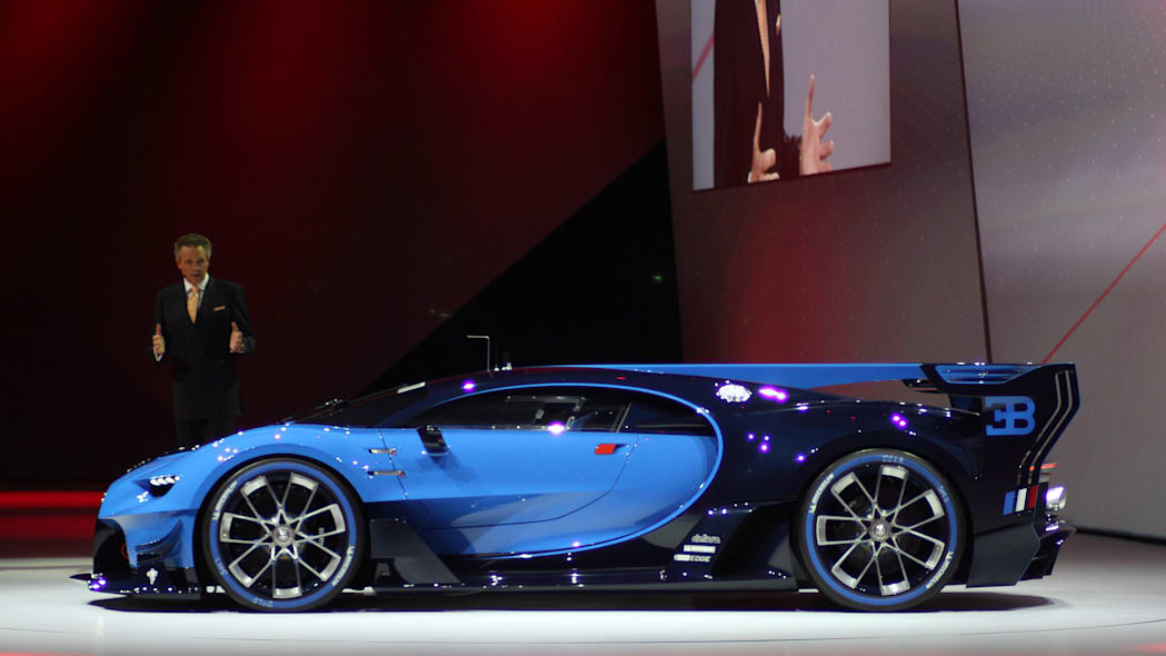 The Bugatti Vision Gran Turimso, designed for the Sony Playstation game Gran Turismo, is shown off at Volkswagen Group Night ahead of the 2015 Frankfurt Motor Show, side view.