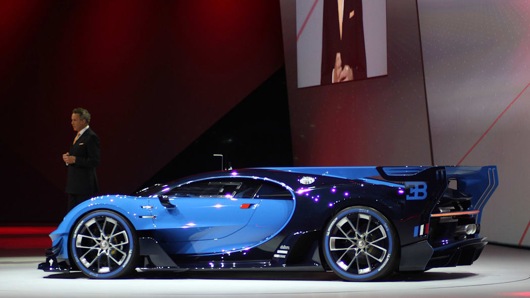 The Bugatti Vision Gran Turimso, designed for the Sony Playstation game Gran Turismo, is shown off at Volkswagen Group Night ahead of the 2015 Frankfurt Motor Show, near rear three-quarter view.