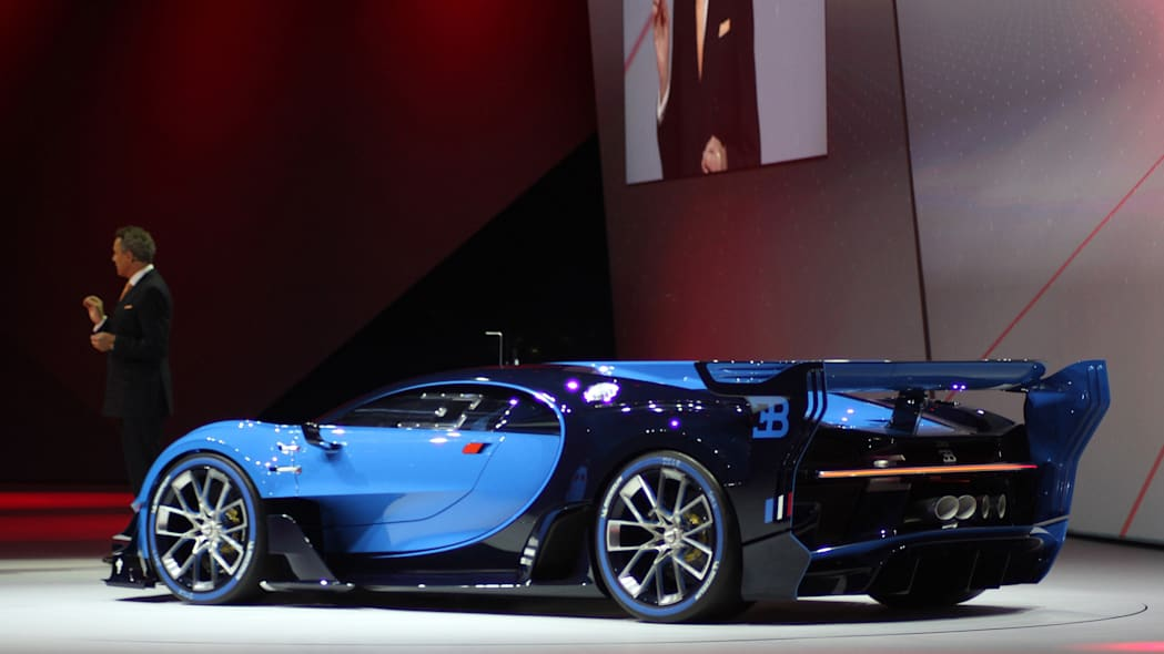 The Bugatti Vision Gran Turimso, designed for the Sony Playstation game Gran Turismo, is shown off at Volkswagen Group Night ahead of the 2015 Frankfurt Motor Show, rear three-quarter view.