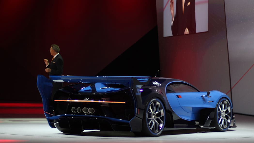The Bugatti Vision Gran Turimso, designed for the Sony Playstation game Gran Turismo, is shown off at Volkswagen Group Night ahead of the 2015 Frankfurt Motor Show, rear view.