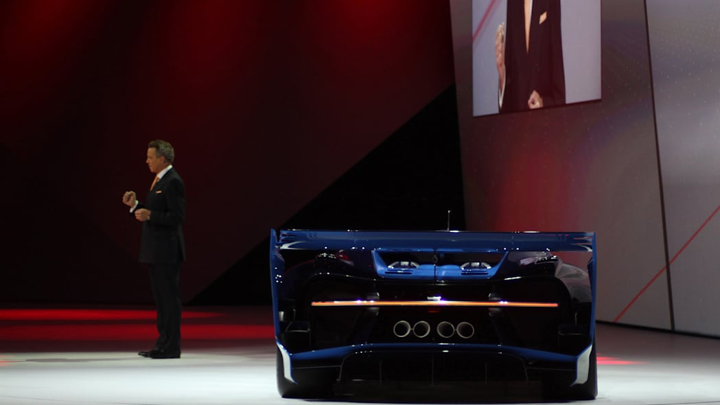 The Bugatti Vision Gran Turimso, designed for the Sony Playstation game Gran Turismo, is shown off at Volkswagen Group Night ahead of the 2015 Frankfurt Motor Show, rear view with brand CEO Wolfgang Durheimer.