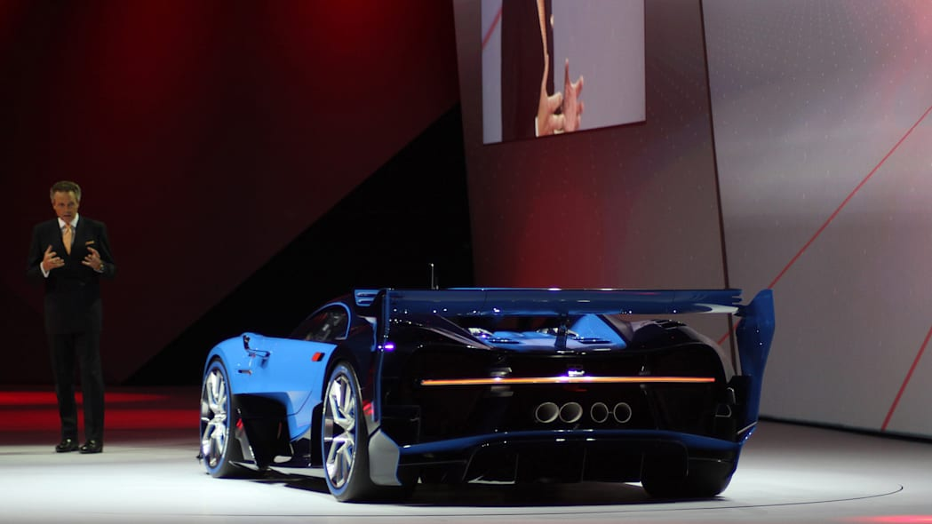 The Bugatti Vision Gran Turimso, designed for the Sony Playstation game Gran Turismo, is shown off at Volkswagen Group Night ahead of the 2015 Frankfurt Motor Show, rear three-quarter.