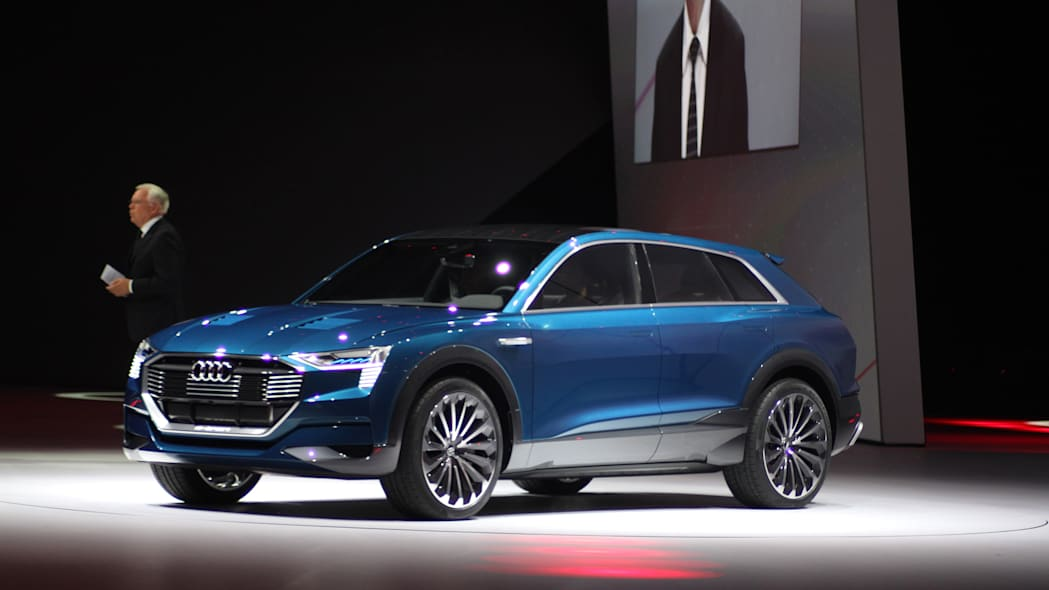 The Audi E-Tron Quattro concept is revealed to the press at Volkswagen Group Night ahead of the 2015 Frankfurt Motor Show, front three-quarter view.