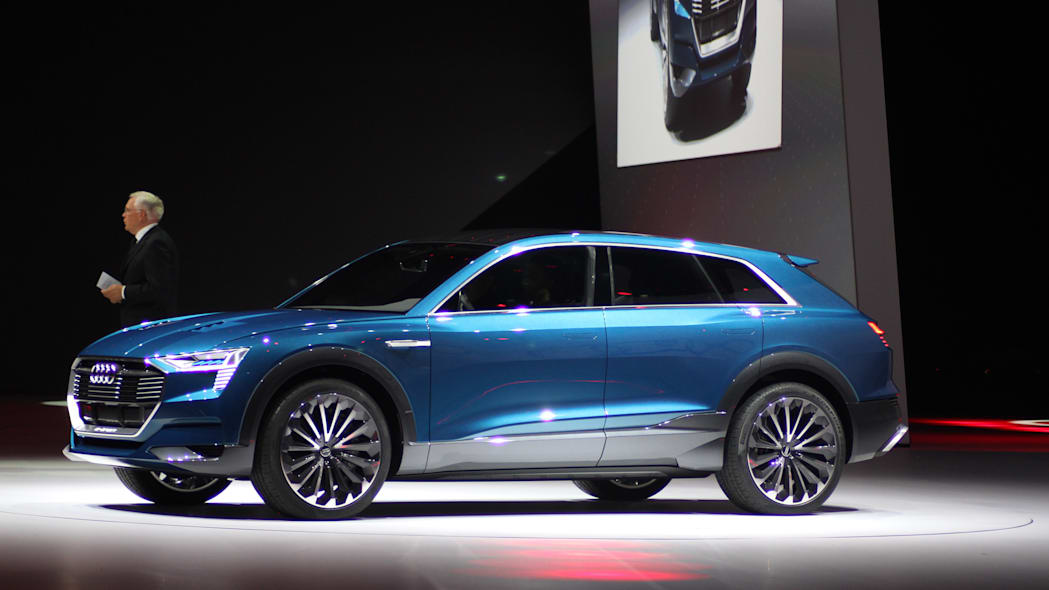 The Audi E-Tron Quattro concept is revealed to the press at Volkswagen Group Night ahead of the 2015 Frankfurt Motor Show, near front three-quarter view.