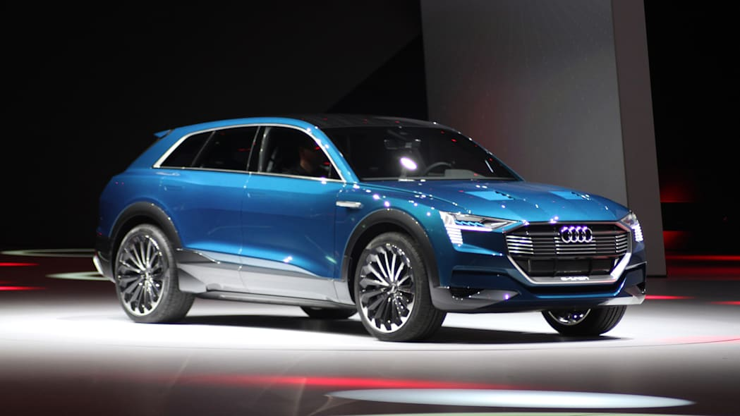 The Audi E-Tron Quattro concept is revealed to the press at Volkswagen Group Night ahead of the 2015 Frankfurt Motor Show, front three-quarter view, passenger side.