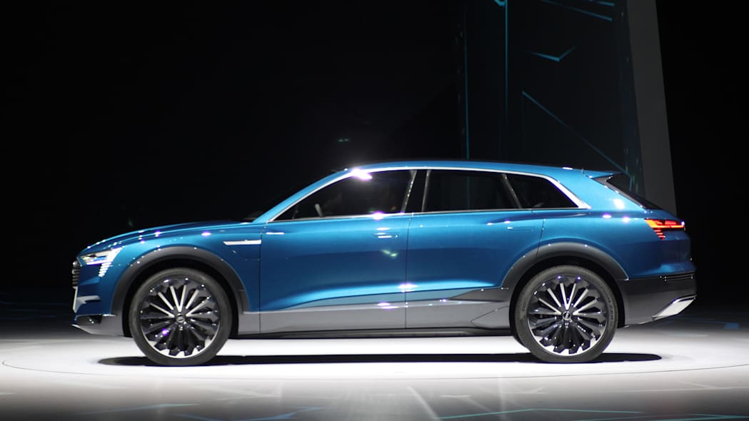 The Audi E-Tron Quattro concept is revealed to the press at Volkswagen Group Night ahead of the 2015 Frankfurt Motor Show, side view.
