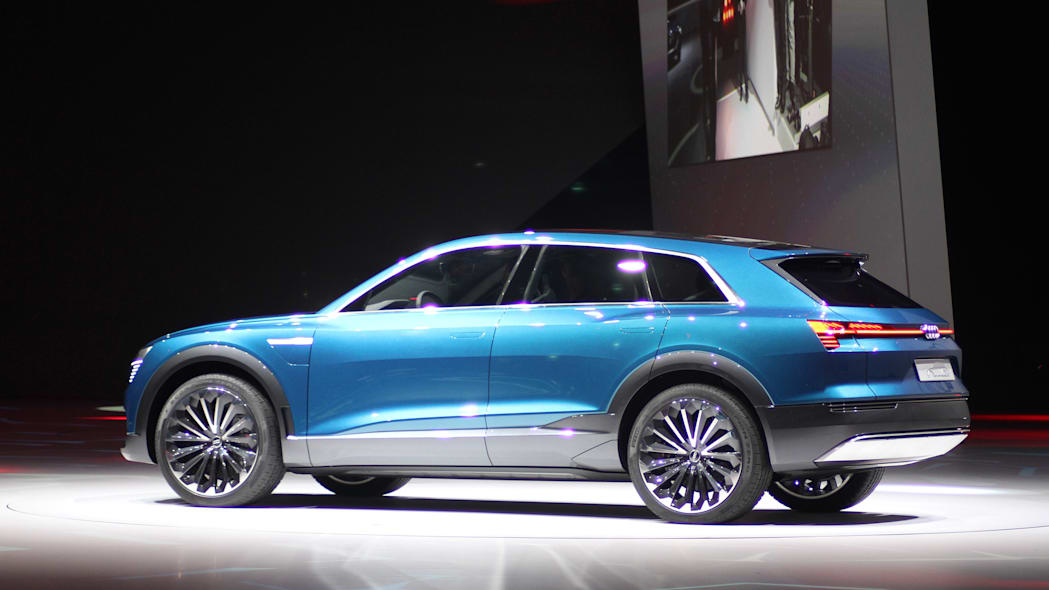 The Audi E-Tron Quattro concept is revealed to the press at Volkswagen Group Night ahead of the 2015 Frankfurt Motor Show, rear three-quarter view.