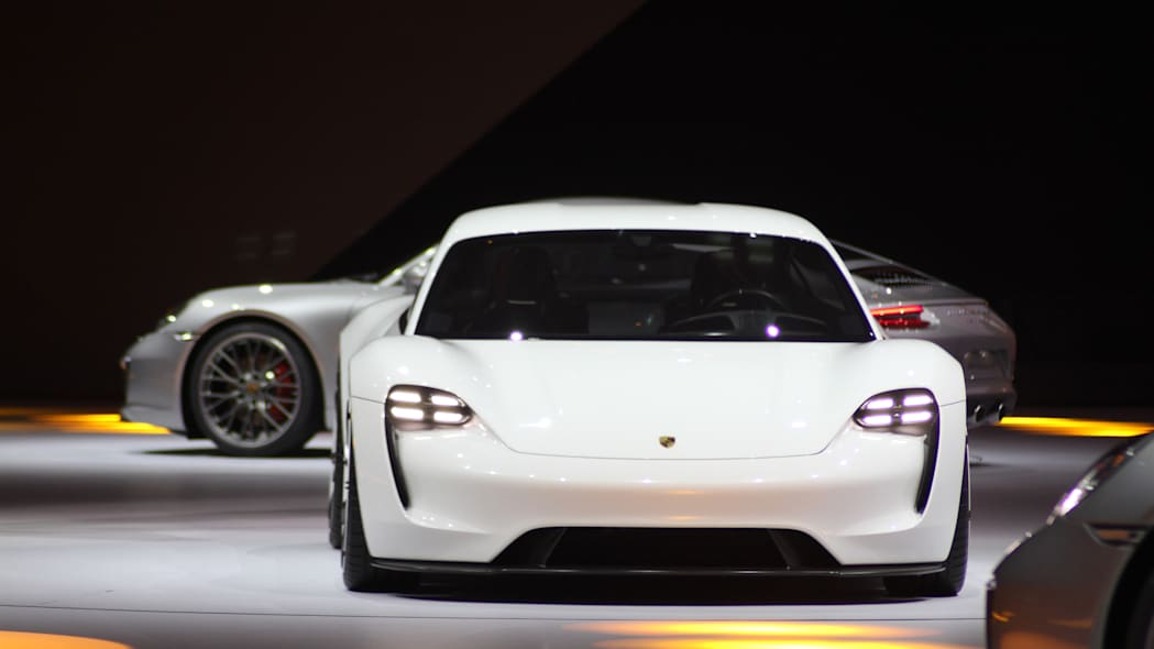 The electric Porsche Mission E concept, showed off at the Volkswagen Group Night ahead of the 2015 Frankfurt Motor Show, front view.