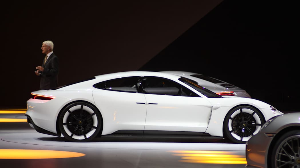 The electric Porsche Mission E concept, showed off at the Volkswagen Group Night ahead of the 2015 Frankfurt Motor Show, side view.