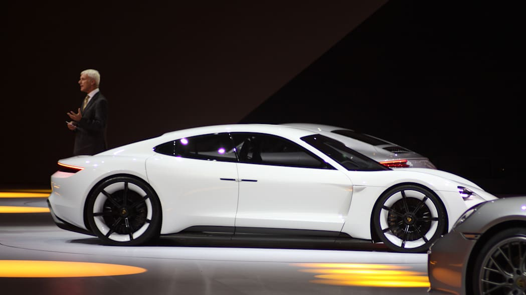The electric Porsche Mission E concept, showed off at the Volkswagen Group Night ahead of the 2015 Frankfurt Motor Show, passenger's side view.