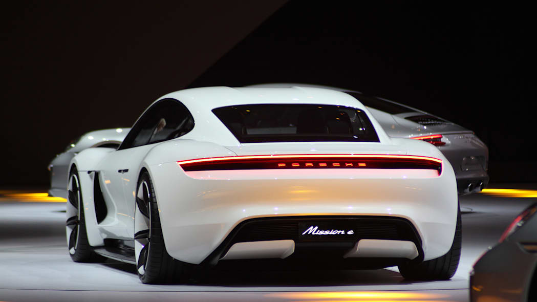 The electric Porsche Mission E concept, showed off at the Volkswagen Group Night ahead of the 2015 Frankfurt Motor Show, rear view.