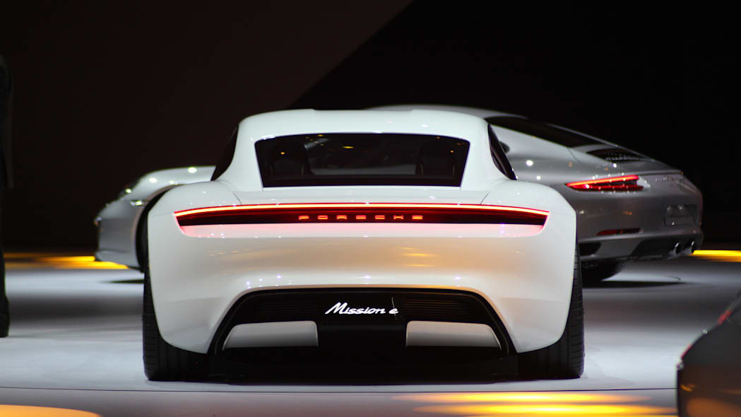 The electric Porsche Mission E concept, showed off at the Volkswagen Group Night ahead of the 2015 Frankfurt Motor Show, rear.