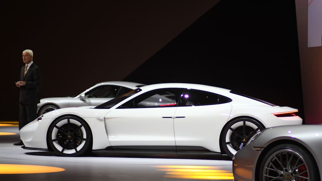 The electric Porsche Mission E concept, showed off at the Volkswagen Group Night ahead of the 2015 Frankfurt Motor Show, driver's side view.
