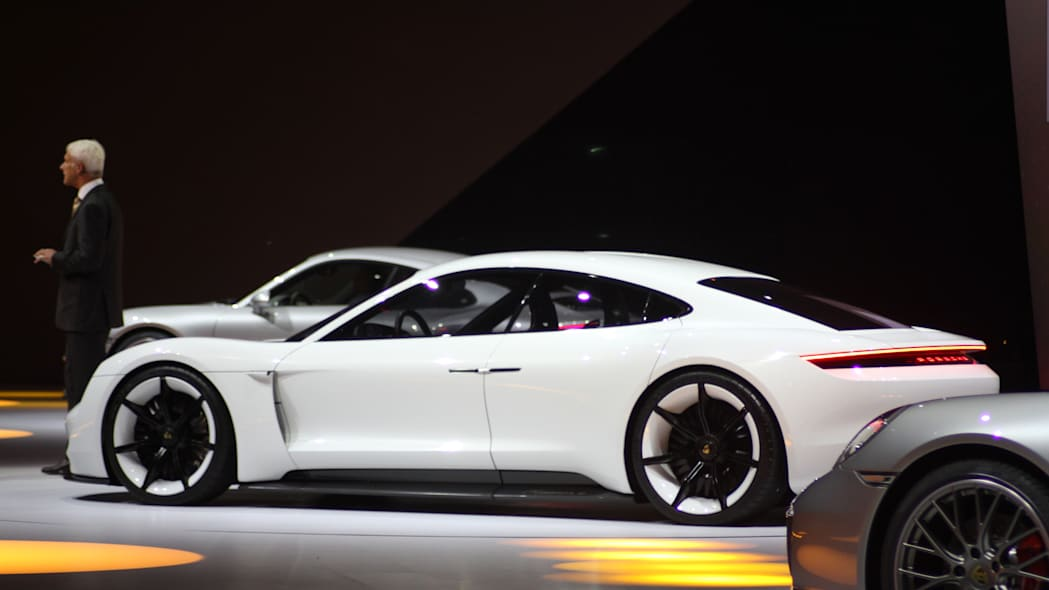 The electric Porsche Mission E concept, showed off at the Volkswagen Group Night ahead of the 2015 Frankfurt Motor Show, side.