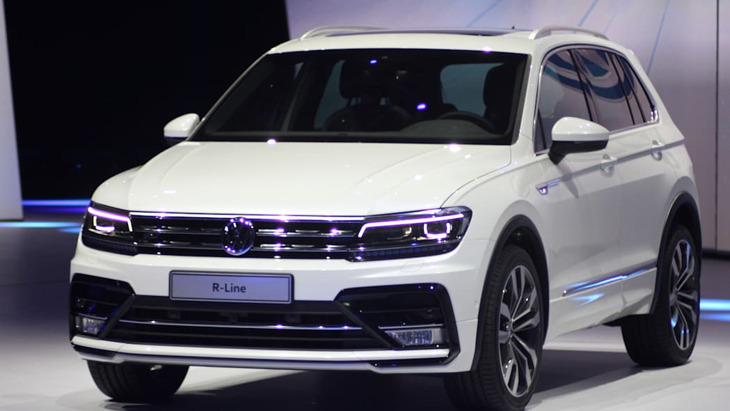 The 2016 Volkswagen Tiguan R-Line, unveiled at Volkswagen's Group Night ahead of the 2015 Frankfurt Motor Show, close-up front three-quarter view.