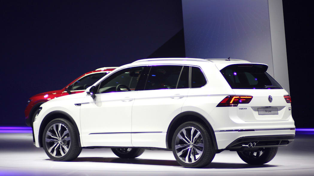 The 2016 Volkswagen Tiguan R-Line, unveiled at Volkswagen's Group Night ahead of the 2015 Frankfurt Motor Show, rear three-quarter view.