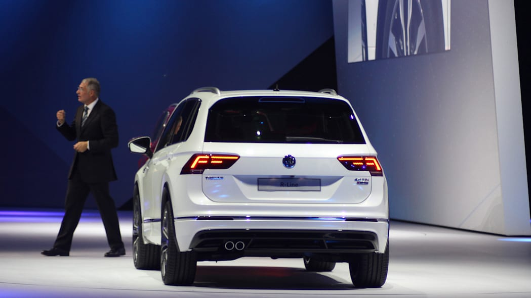 The 2016 Volkswagen Tiguan R-Line, unveiled at Volkswagen's Group Night ahead of the 2015 Frankfurt Motor Show, rear view.
