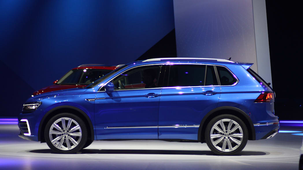 The Volkswagen Tiguan GTE concept unveiled at Volkswagen's Group Night ahead of the 2015 Frankfurt Motor Show, side view.