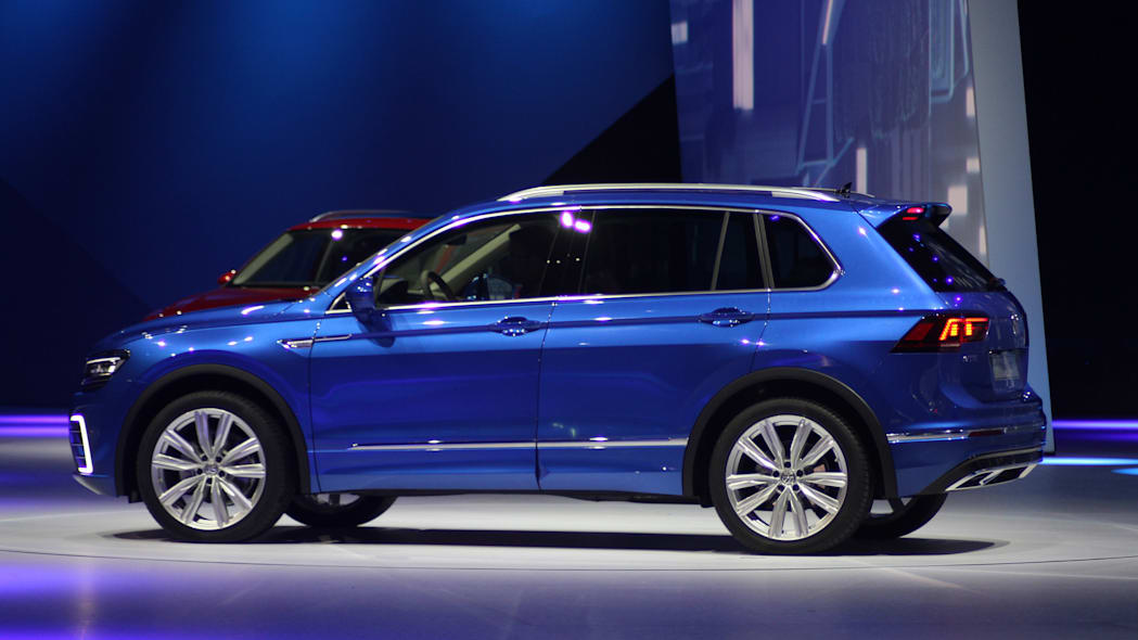 The Volkswagen Tiguan GTE concept unveiled at Volkswagen's Group Night ahead of the 2015 Frankfurt Motor Show, near rear three-quarter view.