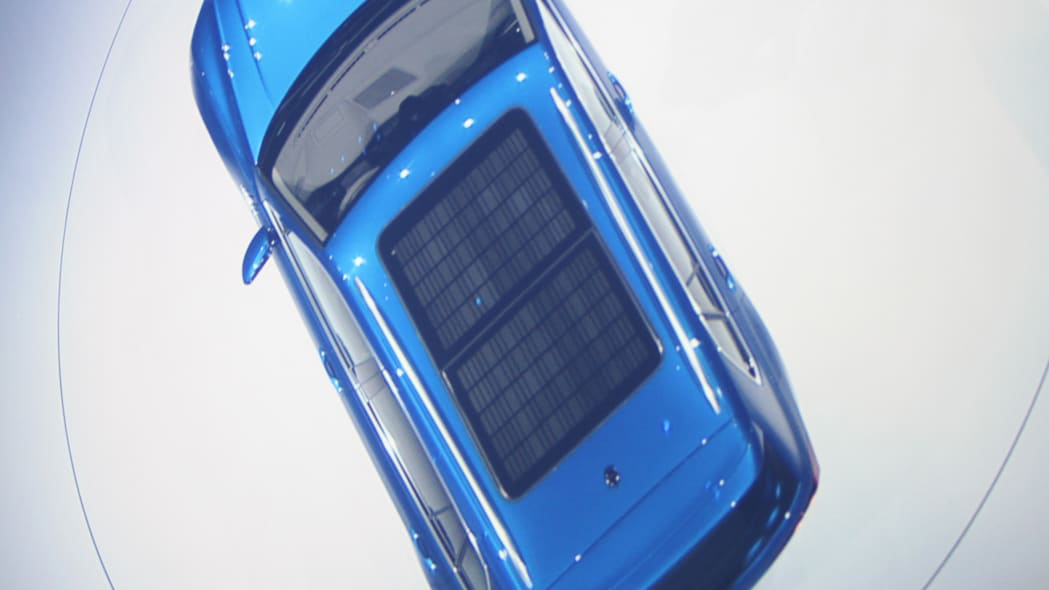 The Volkswagen Tiguan GTE concept unveiled at Volkswagen's Group Night ahead of the 2015 Frankfurt Motor Show, overhead view of the solar panels on the roof.