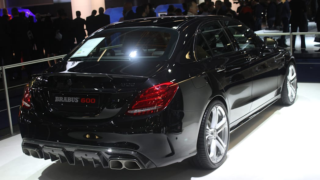 A second variant of the Brabus 600, this one based on the Mercedes-AMG C63 S, is shown off at the 2015 Frankfurt Motor Show, rear three-quarter view.