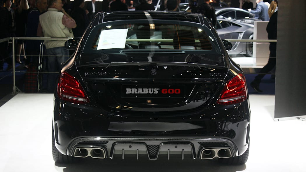 A second variant of the Brabus 600, this one based on the Mercedes-AMG C63 S, is shown off at the 2015 Frankfurt Motor Show, rear view.
