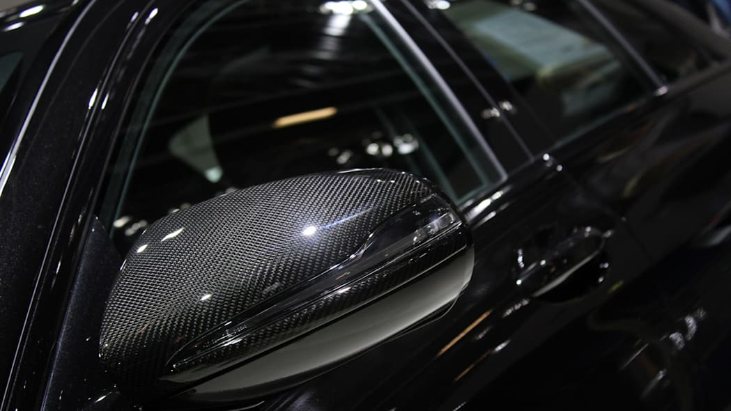 A second variant of the Brabus 600, this one based on the Mercedes-AMG C63 S, is shown off at the 2015 Frankfurt Motor Show, outside mirror.