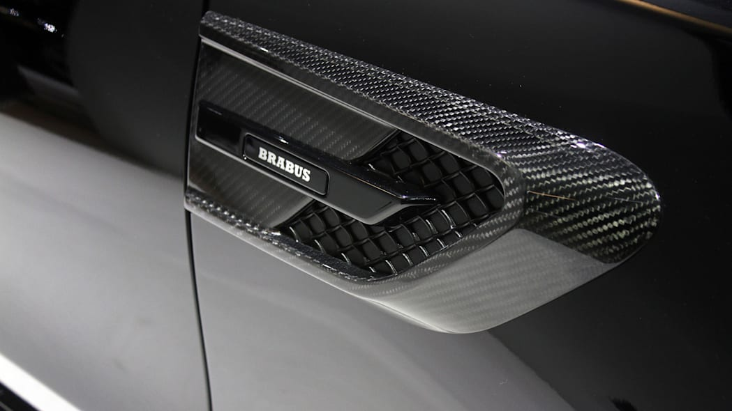 A second variant of the Brabus 600, this one based on the Mercedes-AMG C63 S, is shown off at the 2015 Frankfurt Motor Show, detail of the side intake.