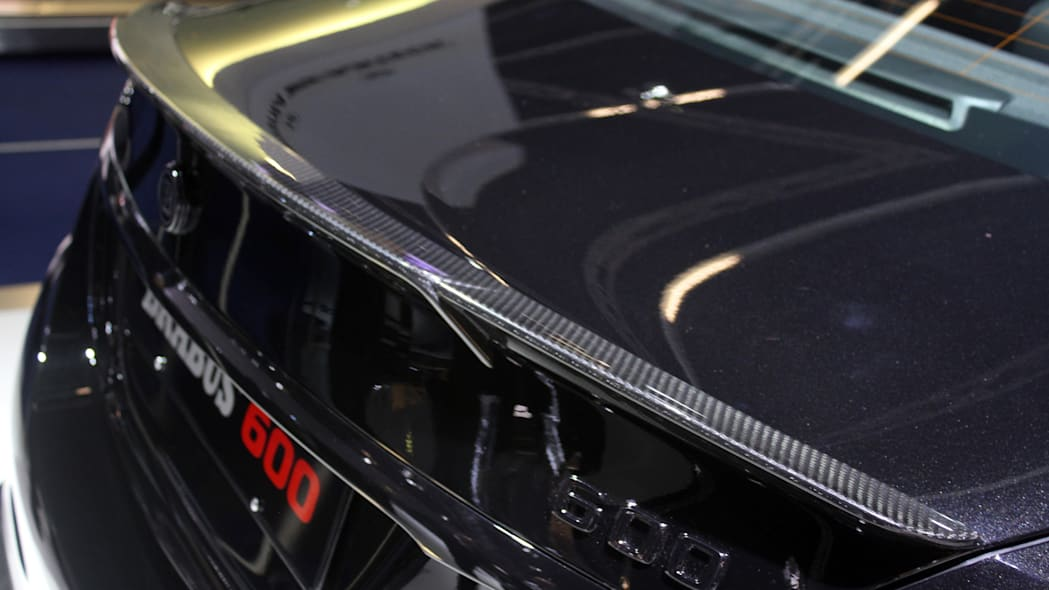 A second variant of the Brabus 600, this one based on the Mercedes-AMG C63 S, is shown off at the 2015 Frankfurt Motor Show, rear wing.