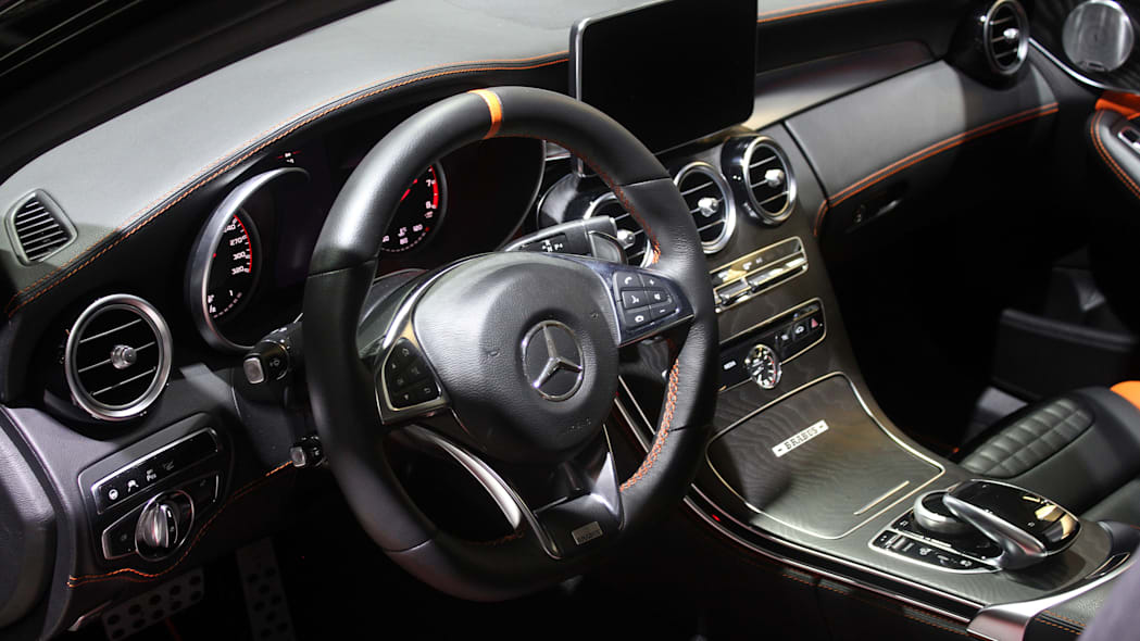 A second variant of the Brabus 600, this one based on the Mercedes-AMG C63 S, is shown off at the 2015 Frankfurt Motor Show, interior.
