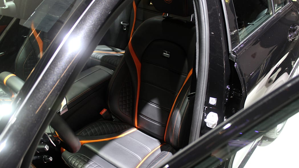 A second variant of the Brabus 600, this one based on the Mercedes-AMG C63 S, is shown off at the 2015 Frankfurt Motor Show, front seats.
