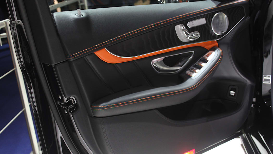A second variant of the Brabus 600, this one based on the Mercedes-AMG C63 S, is shown off at the 2015 Frankfurt Motor Show, driver's door panel.