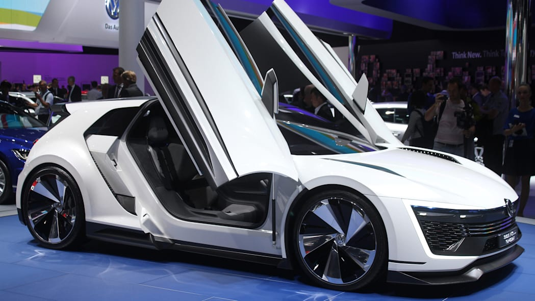 The Volkswagen Golf GTE Sport concept showed off at the 2015 Frankfurt Motor Show, near front three-quarter view.