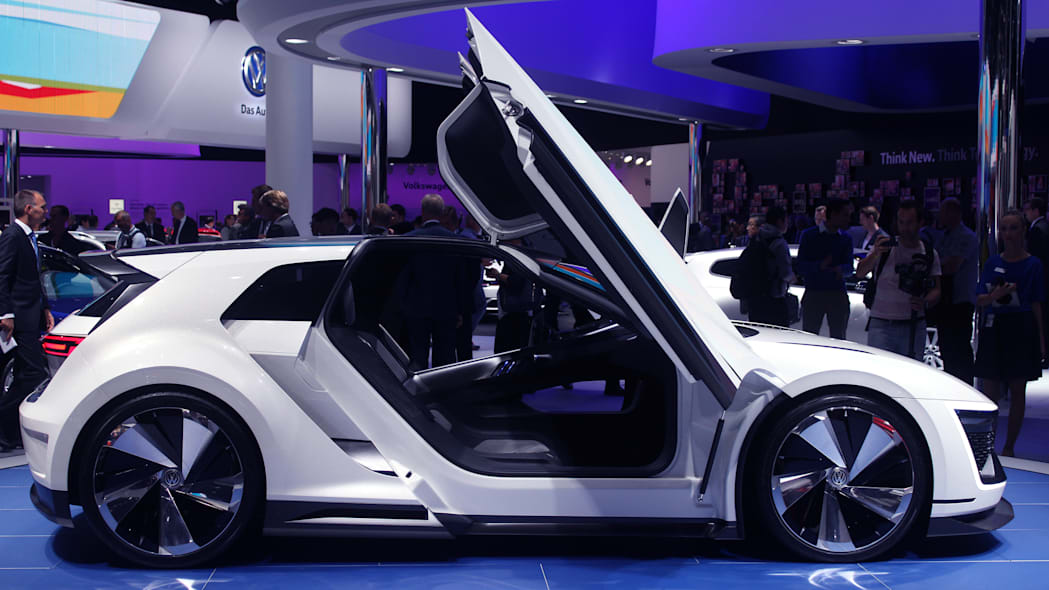 The Volkswagen Golf GTE Sport concept showed off at the 2015 Frankfurt Motor Show, side view.