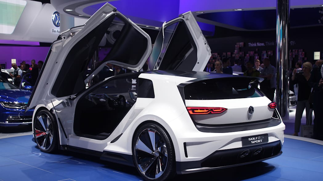 The Volkswagen Golf GTE Sport concept showed off at the 2015 Frankfurt Motor Show, rear three-quarter.